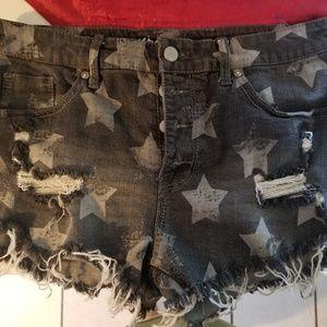 Black frayed shorts with stars sz 12